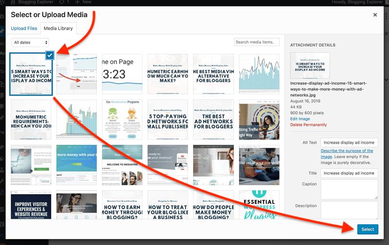 如何在 WordPress 中撰写您的第一篇博文 - 如何选择媒体文件
