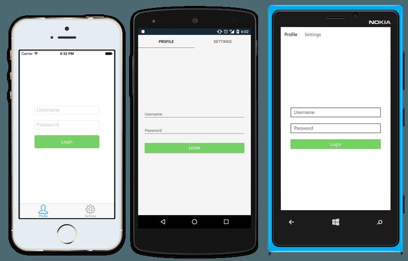 使用C#代码通过Xamarin.Forms编写一套代码,构建原生UI支持IOS ,Android和Windows 1