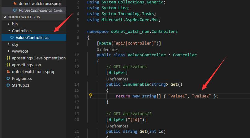 dot watch+vs code提成asp.net core开发效率 5