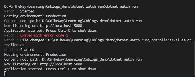 dot watch+vs code提成asp.net core开发效率 6