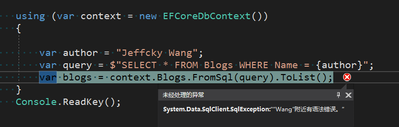 EntityFramework Core 2.0执行原始查询如何防止SQL注入? 6