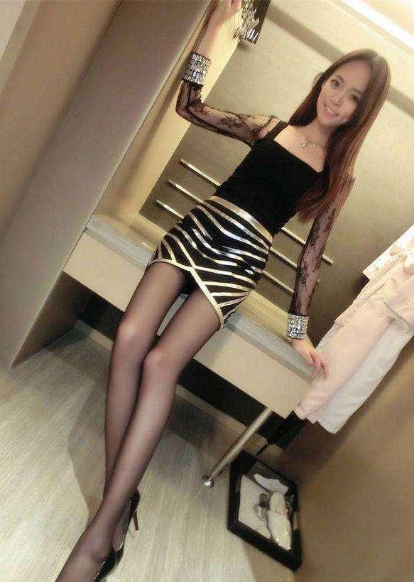 黑丝袜搭包臀裙彰显好气质青春迷人 7
