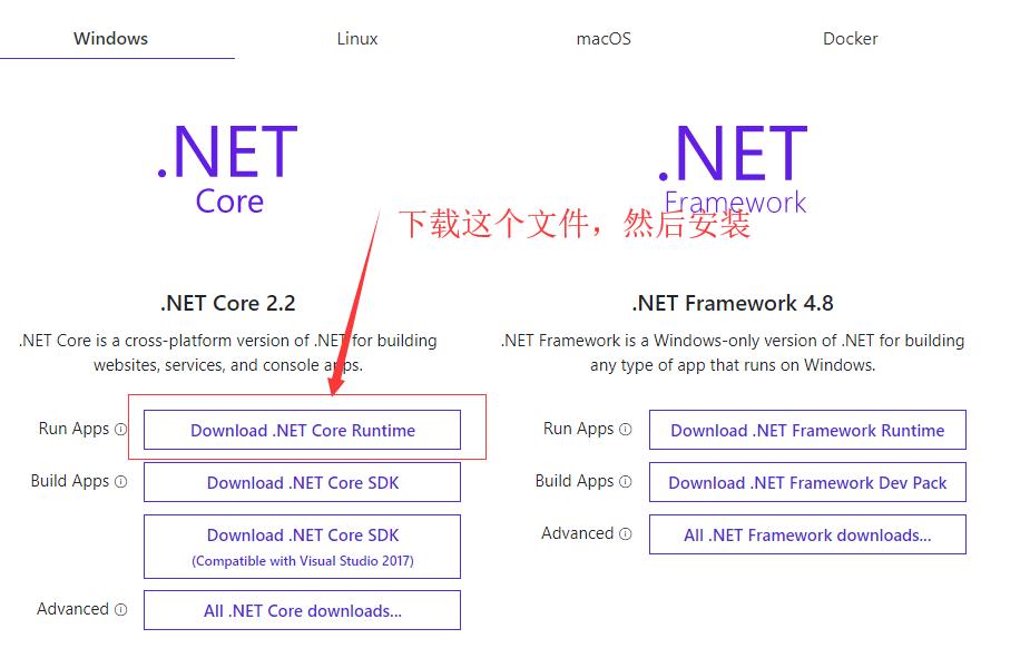 .net core环境运行时