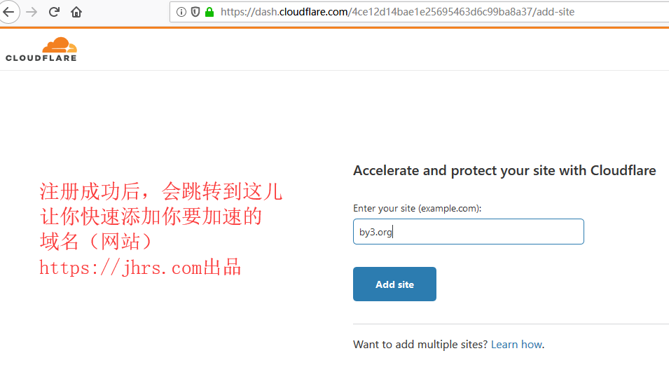 添加要cloudflare加速的网站