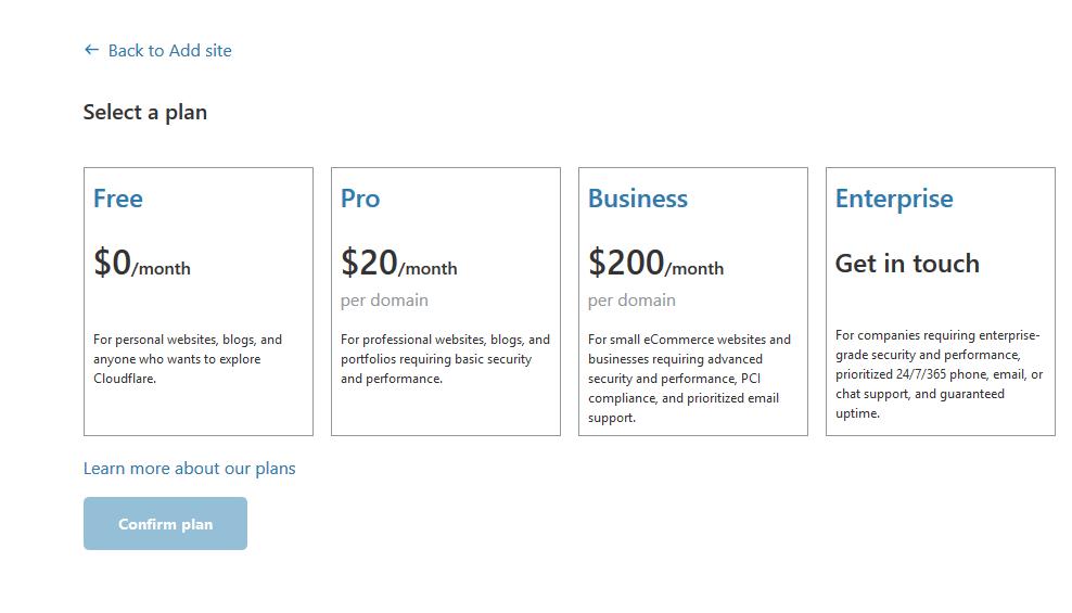 选择cloudflare免费计划