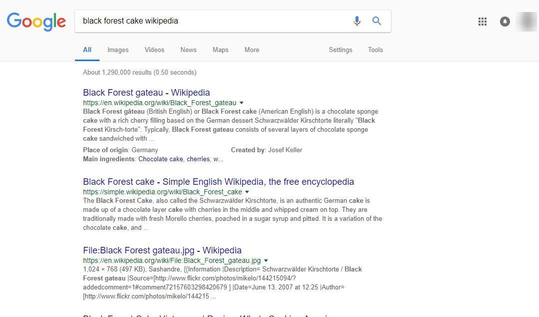 维基百科serp结果