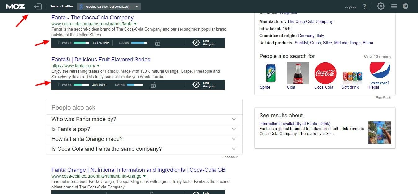 搜索结果中的mozbar
