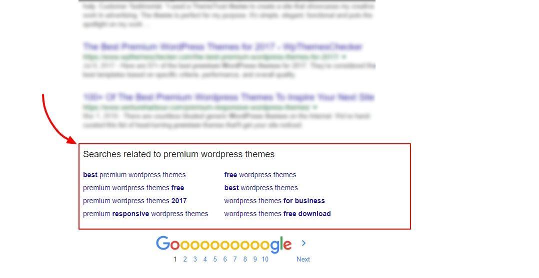 Google中的相关搜索部分