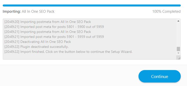 导入 All In One SEO Pack 设置数据到Rank Math完毕