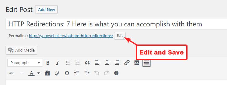 在经典编辑器中更改永久链接
