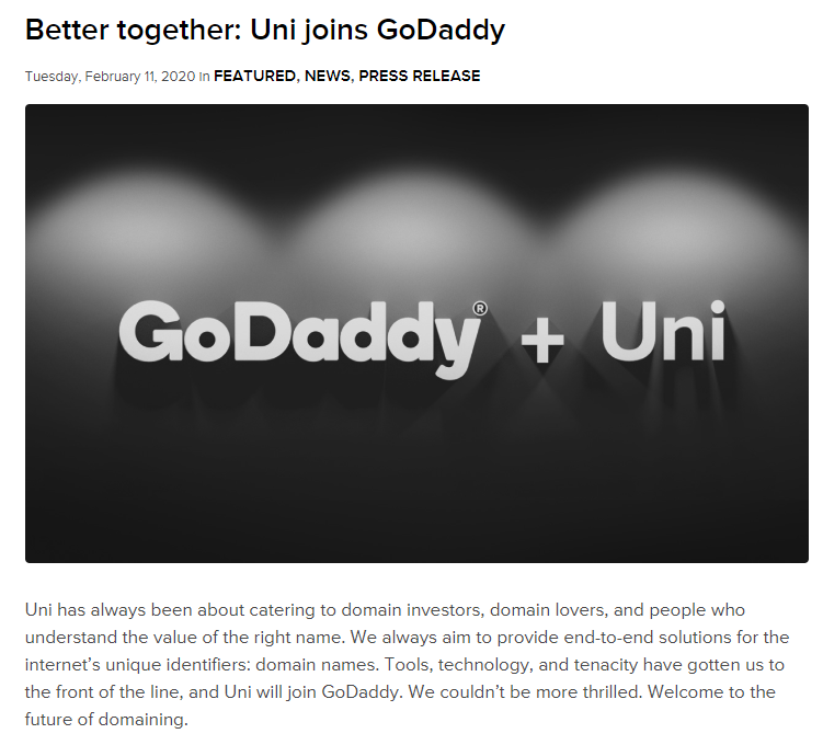 2020年Godaddy收购uniregistry.com 1