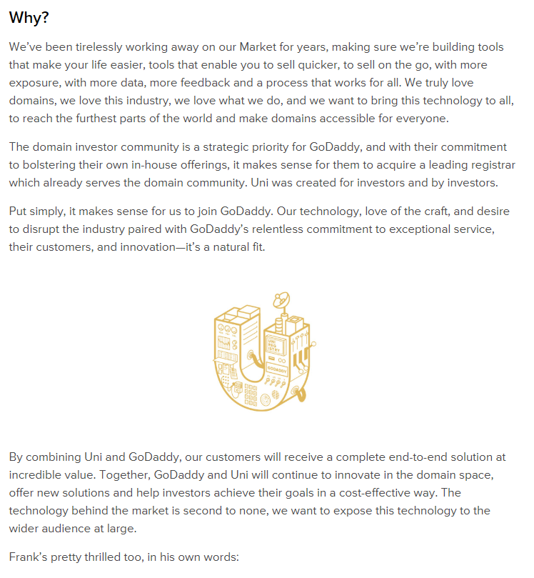 2020年Godaddy收购uniregistry.com 2