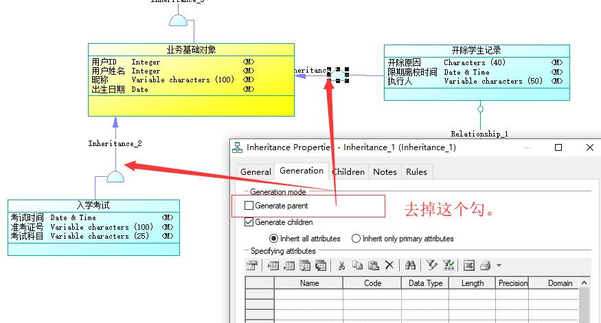 5分钟搞明白PowerDesigner设计CDM类继承关系 7