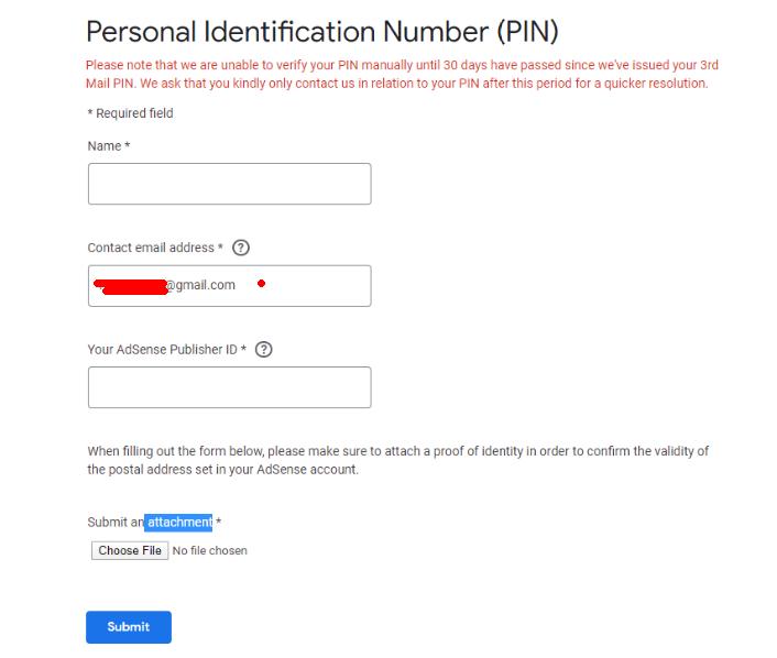 Adsense PIN码人工验证提交信息内容
