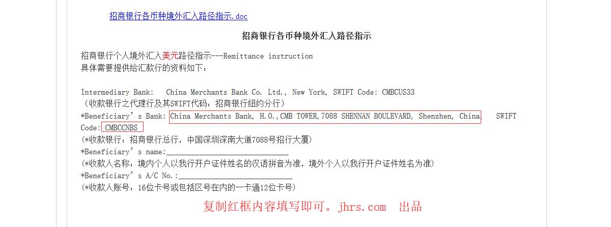 招商银行英文名称和SWIFT BIC