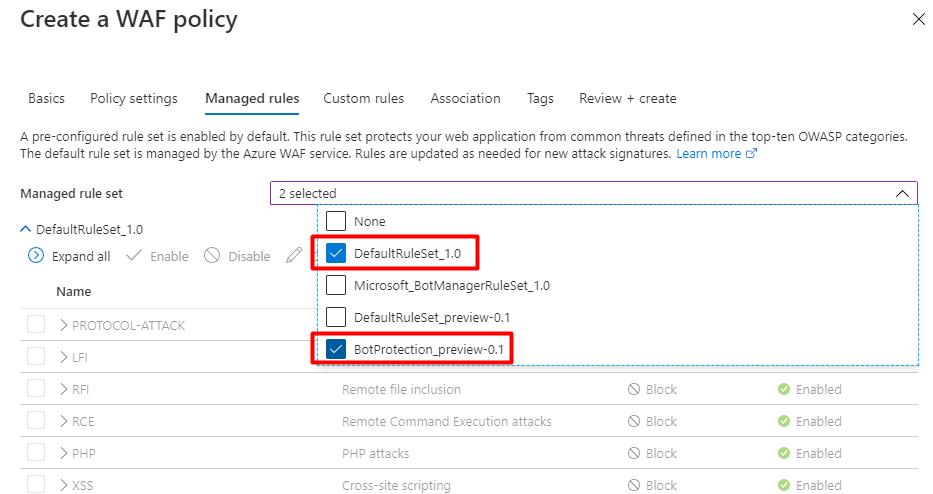 使用 Azure Web 应用防火墙拦截黑客攻击 4