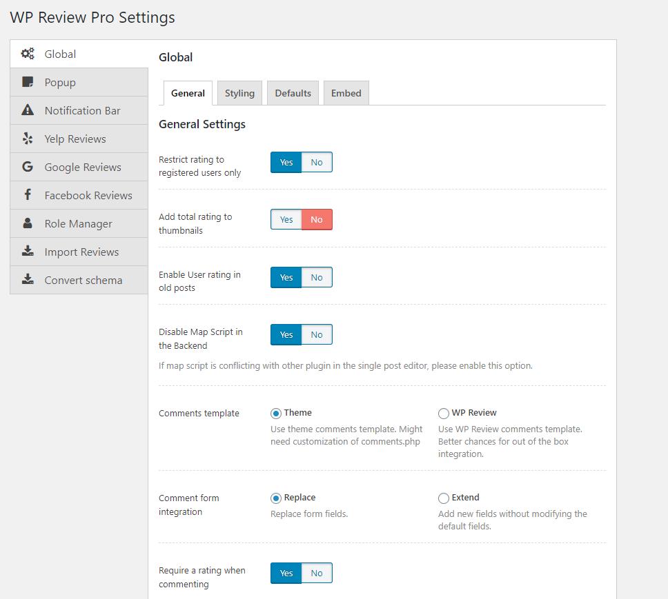 2020最新WP Review Pro插件全局设置中文简介 2