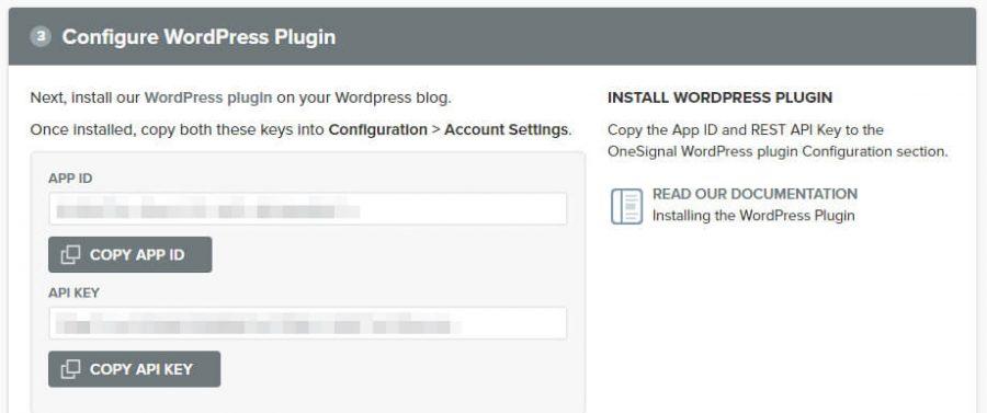 您的OneSignal应用程序ID和API密钥。