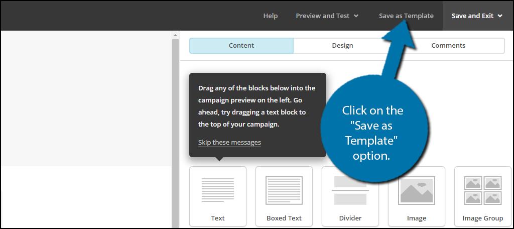"""点击屏幕右上方的""""另存为模板""""选项。"""
