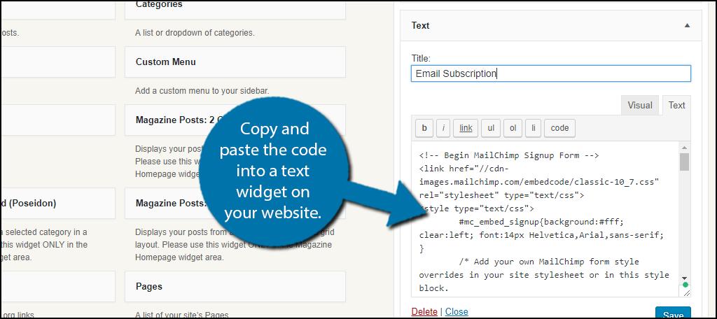 复制代码并将其粘贴到您网站上的文本小部件中。