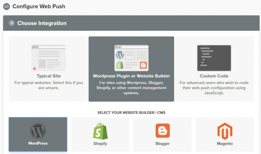 选择WordPress通知选项。
