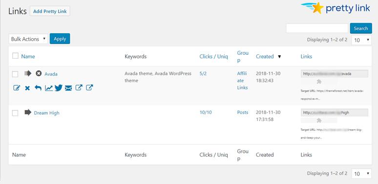 隐藏推广链接插件,WordPress插件Pretty Links 2021 6