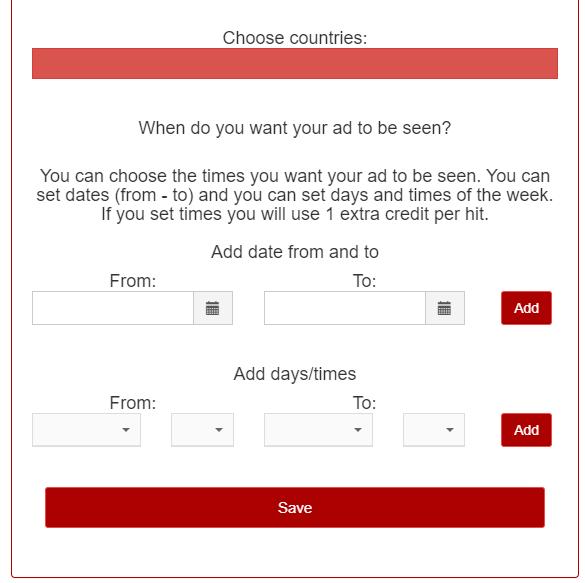 选择流量来源国家和设置广告展示时间段