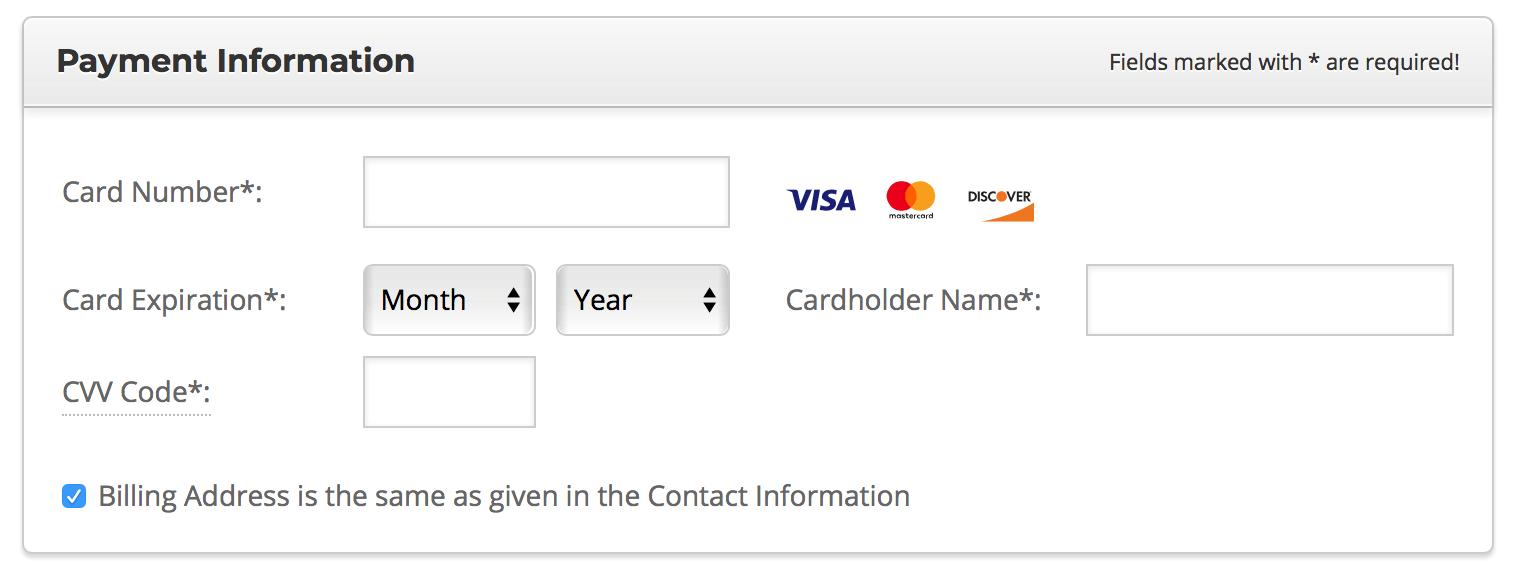 填写信用卡信息购买SiteGround虚拟主机