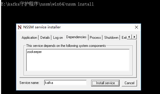 怎样将kafka安装为windows服务,zookeeper也一样 1
