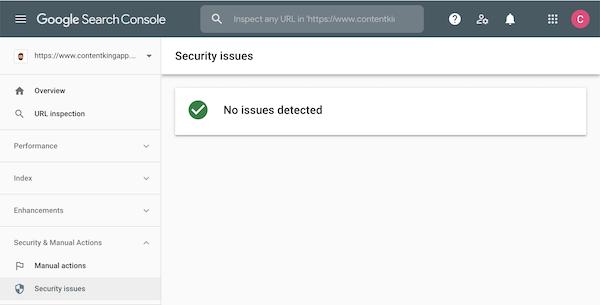 Google Search Console中未报告安全问题