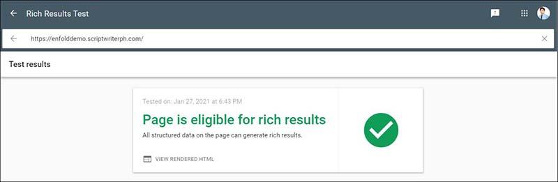 根据 Google Rich Result Test,Enfold Structured Data 是有效的并且有资格获得丰富的结果