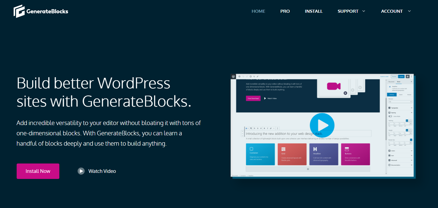 WordPress建站插件 -  GenerateBlocks官网