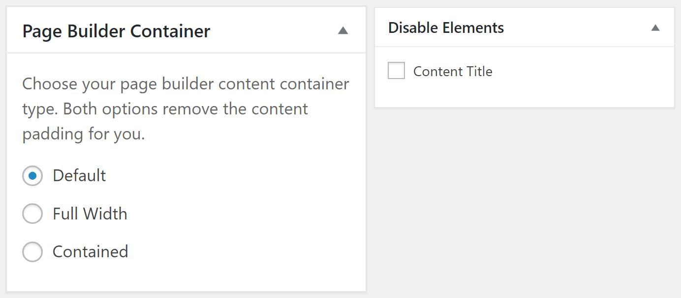页面构建器和禁用元素